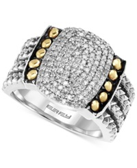Effy Collection Balissima By Effy Diamond Statement Ring 1 3 Ct. T.W. In Sterling Silver And 18K Gold Yellow Gold