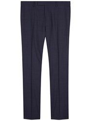 Jaeger Basketweave Check Regular Fit Suit Trousers Blue