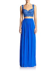 La Femme Lace Cropped Top Two Piece Gown Electric Blue