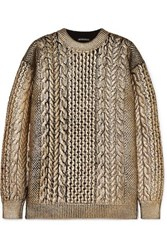 Ann Demeulemeester Metallic Cable Knit Wool Sweater Gold