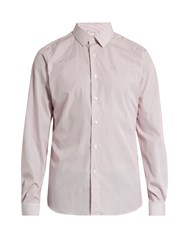 Valentino Button Cuff Pinstriped Cotton Poplin Shirt Burgundy White