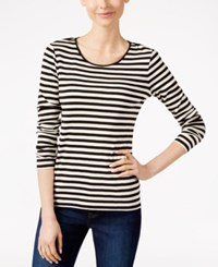 Charter Club Long Sleeve Striped Top Only At Macy's Deep Black Combo