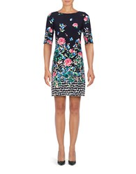 Eliza J Boatneck Elbow Length Sleeve Printed Dress Navy
