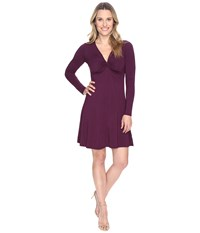 Mod O Doc Cotton Modal Spandex Jersey Twist Front Empire Seamed Dress Spiced Plum Women's Dress Purple