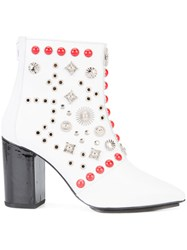Toga Studded Ankle Boots White