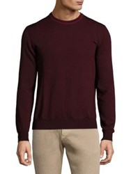 Isaia Wool Long Sleeve Sweater Dark Red Dark Grey