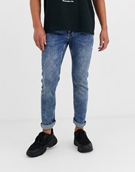Only And Sons Slim Fit Super Stretch Jeans In Mid Wash Blue
