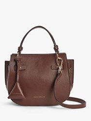 Coccinelle Didi Tumbled Leather Grab Bag Chocolate