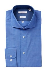 Isaac Mizrahi White Label Textured Tonal Check Dress Shirt Blue