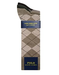 Polo Ralph Lauren Big And Tall Argyle Dress Socks 3 Pack Olive