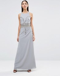 Maya Diamond Embellished Maxi Dress Dove Grey
