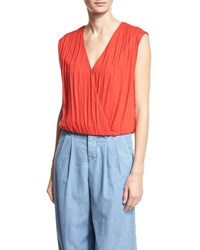 Alice Olivia Dania Slouchy Crossover Top Red