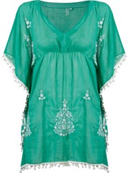 Sub Embroidered Kaftan Green