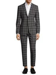 Strellson Cale Madden Slim Fit Plaid Suit Charcoal