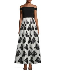 Js Collections Strapless Floral Skirt Gown Black White