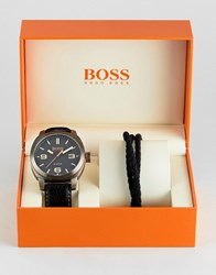 Boss Orange By Hugo Watch And Bracelet Gift Set In Black