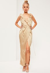 Missguided Nude Silky Frill Maxi Dress Champagne
