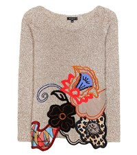 Etro Embroidered Cotton Wool And Cashmere Sweater Beige