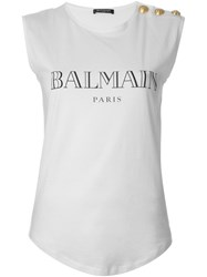 Balmain Sleeveless Top White