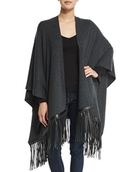 Vince Luxe Cashmere Blend Poncho With Leather Fringe