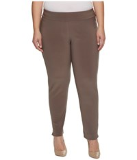 Krazy Larry Plus Size Microfiber Long Skinny Dress Pants Taupe Women's Dress Pants