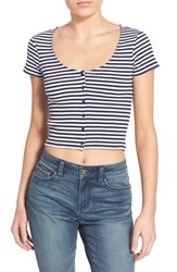 Junior Women's Bp. Stripe Scoop Neck Crop Top Navy Evening Sara Stripe