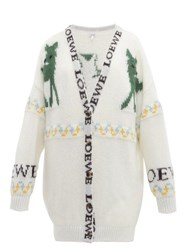 Loewe Deer Jacquard Mohair Blend Cardigan Cream Multi