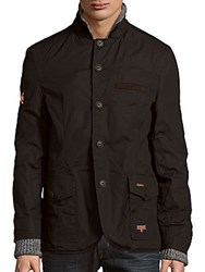 Superdry Waxmans Layered Coat Tanka Black