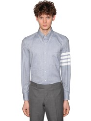 Thom Browne Straight Fit Cotton Flannel Shirt Light Blue