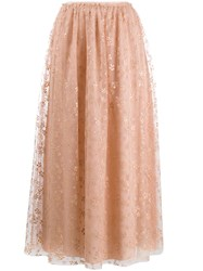 Red Valentino Redvalentino Floral Tulle Maxi Skirt 60