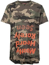 Mostly Heard Rarely Seen Camouflage Logo Print T Shirt Green