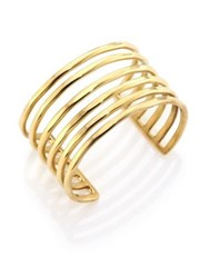 Taylor And Tessier Wire Hammered Multi Row Cuff Bracelet Gold