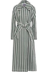 Alexachung Woman Double Breasted Striped Denim Trench Coat White