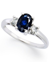 Macy's 14K White Gold Ring Sapphire 1 1 8 Ct. T.W. And Diamond 1 5 Ct. T.W. 3 Stone Ring Blue