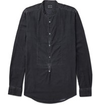Massimo Alba Maimo Grandad Collar Modal And Cotton Blend Hirt Midnight Blue