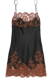 Carine Gilson Julia Lace Trimmed Silk Satin Chemise Black