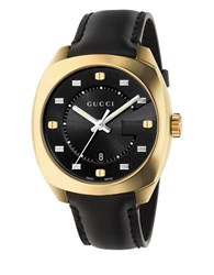 Gucci Gg2570 Vintage Version Stainless Steel And Calf Leather Strap Watch Black
