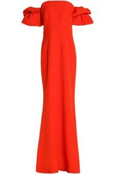 Safiyaa Off The Shoulder Ruffled Crepe Gown Orange