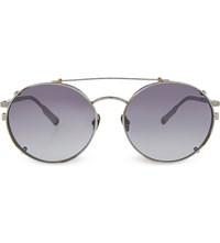Kris Van Assche Kva70 Unique Circular Combination Aviator Sunglasses Burn Silver