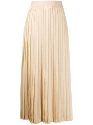 The Row Long Pleated Skirt Neutrals
