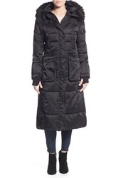 Women's Nanette Lepore Faux Fur Trim Quilted Mixed Media Maxi Coat With Removable Hood And Inset Bib Black