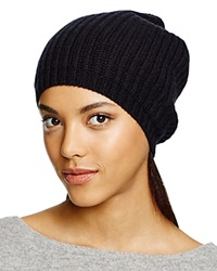 C By Bloomingdale's Cashmere Ribbed Slouch Hat Black