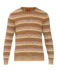Missoni Long Sleeved Cotton And Wool Blend Knit Top Orange Multi