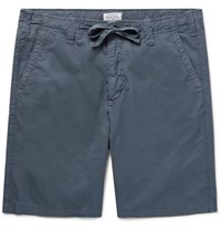 Hartford Slim Fit Cotton Twill Drawstring Shorts Blue
