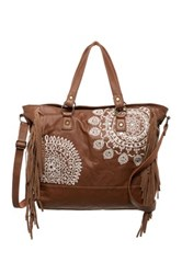 T Shirt And Jeans Fringe Embroidered Tote Brown