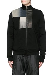 Rick Owens Leather Denim Patchwork Sweat Jacket Black