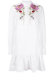 Alexander Mcqueen Floral Embroidered Dress White