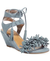 Material Girl Haniya Fringe Wedge Sandals Only At Macy's Women's Shoes Powder Blue