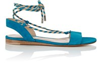 Gianvito Rossi Women's Striped Ankle Tie Sandals Turquoise