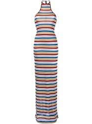 Dsquared2 Metallic Grey Stripe Maxi Dress